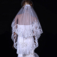 New Popular Best Sale Free Shipping Two Tier Fingertips Wedding Veils With Applique Edge(More Colors) 001