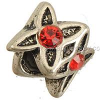 distanziatore perline bracciali braccialetti fai da te roba lavorazione manuale stella con strass rosso grande foro metallo classico accessori gioielli all'ingrosso 9mm 200 pz