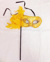 Fashion Party feather shiny printing Mask with stick sexy wo...