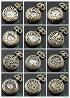 Moda ordem misturada 12 estilo 12 pcs senhoras oco relógio de bolso colar de pingente de colar de unisex relógio de bolso
