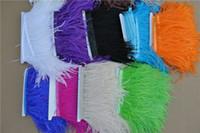Бесплатная доставка-10 ярдов/лот черный белый оранжевый слоновой кости розовый Бургундия королевский синий бирюзовый слоновой кости страуса перо обрезки бахромой