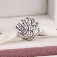 Pandora stil bilezikler için elsSuitable Bahar 2015 yeni ariel shell charms temizle cz 925 ayar gümüş takı