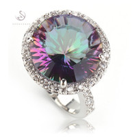 CLassic Fashion Rainbow Mystic stone Silver Plated RING R735...