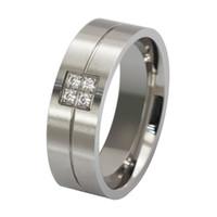 Titanio in acciaio cubico zirconia uomo moda anelli classici argento 8mm dimensioni 7-13