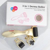 3 في 1 GLOD مقبض 180/600/1200 الفولاذ المقاوم للصدأ بكرة إبرة الإبر الفولاذ المقاوم للصدأ الجلد إبرة مجهرية ديرما rollering النظام