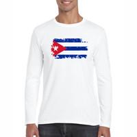 Kuba-Flaggen-T-Shirts Männer Frühling / Herbst T-Stück Top Cooles T-Shirt Fitness Swag Baumwolle Kuba Patriot Fans Cheer Tshirt