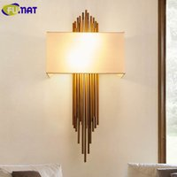 FUMAF Metal Copper Pipe Wall Lamps Modern Bedroom Bedside La...