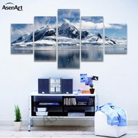 5 Panels Snow Mountain Landscape Painting Printed on Canvas ...
