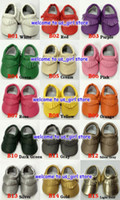 Baby Soft PU Leather Tassel Moccasins Girls Bow Moccs Baby B...