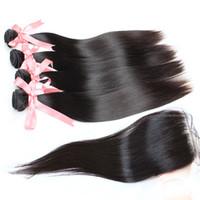Greatremy® 100٪ الشعر الهندي نسج اللحمة 4PCS حزم + 1PC الرباط إغلاق الشعر التمديد الإنسان الشعر العذراء حريري مستقيم اللون الطبيعي