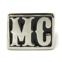 Nuevo 316L de acero inoxidable pulido de plata MC motorista anillo enorme MC Mens Biker Ring