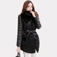 New Black Gray Rabbit Fur Parka Coat For Women Slim- Fit Stan...