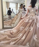 Luxury 2018 Ivory Lace Dusty Pink Tulle Ball Gown Wedding Dr...