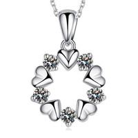 30% 925 argent gros bijoux en cristal fleur de lotus en forme de coeur pendentif collier vintage bijoux de mode de mariage