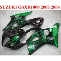 Gratis 7 geschenken Fairing Kit voor Suzuki GSX-R1000 2003 2004 K3 K4 Groene vlammen Black Fackings GSXR 1000 03 04 MotoBike Set JD68