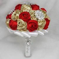 Custom Made Kırmızı Ve Şampanya Düğün Buketleri Renkli Romantik Gelin Buketleri Kristal İnciler Ucuz Nedime Çiçekler