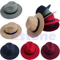 الجملة الرجال النساء bowknot الجاز الصلب ورأى فيدورا الرامي بنما قبعة واسعة حافة قبعة العصابات شحن مجاني