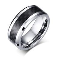블랙 탄소 섬유 속지와 8mm 텅스텐 스틸 웨딩 밴드 망 여자 텅스텐 반지 무료 판화