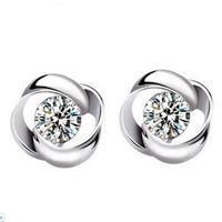 Großhandelsart und weiseschmucksache-925 silberne Kristallblumen-Form-Ohr-Bolzen-Ohrringe Ohr-Ring-Anhänger ED09