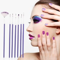 Wholesale- 7Pcs Purple Nail Brush Set Crystal Nail Polish Bru...