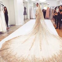 2019 Bling Bling Bling veli da sposa Crystal Cathedral Lusso Applique Lunga Applique Beaded Wedding Veils Personalizzato Accessori per matrimoni Sequè di fascia alta