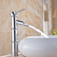 Single Handle Chrome Mixer Tap Bamboo Design Bathroom Sink F...