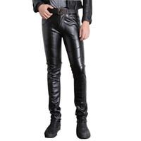 Pantaloni da uomo in pelle sintetica nera per uomo P015