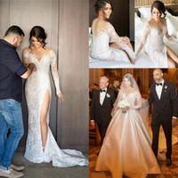 2019 abiti da sposa a sirena di pizzo pieno due pezzi maniche lunghe abito da sposa formale con staccabile treno lato split wedding party abiti economici