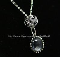 DIY Gevşek Boncuk Kolye Ile 925 Gümüş Charm Kolye Kolye Avrupa Pandora Tarzı Charms ve Boncuk Kolye-Midnight Blude
