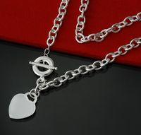 Gratis frakt Kvinnors Fancy Smycken Rundlänk Kedja med Polerat hjärta Tag Silver Necklace Växla lås