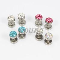 Livraison gratuite en acier inoxydable cristal oreille tunnel fausses bouchons oreille cône piercing bijoux de corps SS-1037