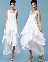 Лето Плюс Размер Женщины Дамы Белый Шифон Рябить Платье Асимметричный Макси Длинное Платье Кружева Платье Вечерние Платья