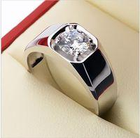 925 Pure Silver Ring Grande Male dedo anelar 18K 1 quilate sintéticos anel de platina masculinos amantes anel de diamante Presentes de noivado ou Wedding Ring