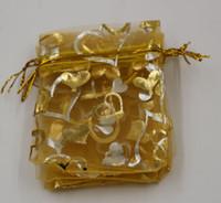 뜨거운! 보석 포장 100Pcs 골드 하트 Organza 파우치 결혼식 호의 선물 가방 7x9cm / 9x12cm / 13x18cm