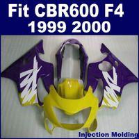 100% carretera Moldeo por inyección para piezas de carenado HONDA CBR 600 F4 1999 2000 púrpura amarillo cbr600 f4 99 00 carenado personalizado CKDS