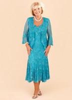 Hunter Full Lace Mother Dresses 2017 Custom Gjorda Elegant En Linje Te-längd Mamma Brudklänningar med spets Bolero Evening Gowns Ba1813