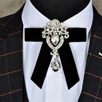 Diamante de lujo del lazo de la aleación del novio de novia vestido de la manera retro terciopelo pajaritas Bowtie 5 colores vendedores calientes