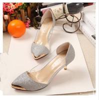 2015 весна / осень Женская обувь на высоких каблуках металлические головы острым носом сексуальные женщины насосы свадебные туфли для женщин
