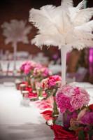 Бесплатная доставка 100 шт. страусиное перо шлейф белый для свадьбы Centerpieces свадебный декор событие поставки decoraction