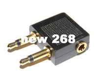 100pcs / lot New Gold 3.5mm a doppio x 3.5mm Airplane Airline cuffia auricolare Jack Audio adattatore nero spedizione gratuita