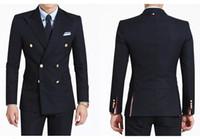 Двубортный сторона вентиляционные темно-синий / черный жених смокинги мужская свадебное платье Праздничная одежда деловой костюм на заказ (куртка + брюки + галстук)