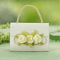 Düğün Favor Çanta Yaratıcı Şeker Kutusu Mor Çiçek Parti Hediye Çantası Kolu ile Doğum Günü Partisi Favor Tutucu 50 adet Ücretsiz Kargo