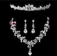 2015 белый прозрачный кристалл 18 к посеребренные свадебные ювелирные наборы для невест мода комплект ювелирных изделий с короной Бесплатная доставка