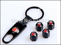 4 pz Copri copertone auto copri ruota chiave auto Chiave portachiavi Anello nero colore ruota copertone valvola auto pneumatico adatta per Audi a4 a6 a3 c5 b6 q7 b8 a8