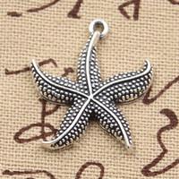 80 pezzi Charms stella marina 24mm Antique, pendente in lega di zinco fit, vintage argento tibetano, fai da te per collana bracciale