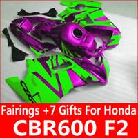 Personalizar bodykit verde morado para piezas de carenado Honda CBR600 F2 1991 1992 1993 1994 CBR 600 F2 carenados kit 91 92 93 94