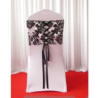 28cm * 80cm vit svart flockning taffeta stol täcke sash med slips rygg / elegans damastast korsettstol