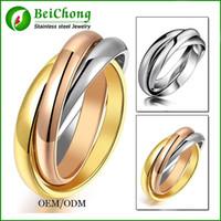 Monili BC monili liberi di trasporto 3 anelli di marca placcati oro 18K di colore per le donne Anelli di cerimonia nuziale del partito elegante Oro rosa Bigiotteria BC-0064