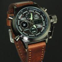 DHL New AMST Unique Vogue Men Swimming Digital LCD Quartz Outdoor Sports Watches Relogio Masculino Clock Handmade Leather Canvas Strap