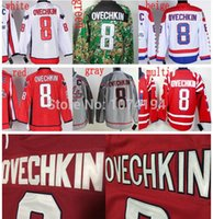 2016 Novo, Washington Inverno Clássico 2015 # 8 Alex Ovechkin Jersey, barato Autêntico Cinza Branco Bordado Vermelho Multi Costurado Hockey Jerse